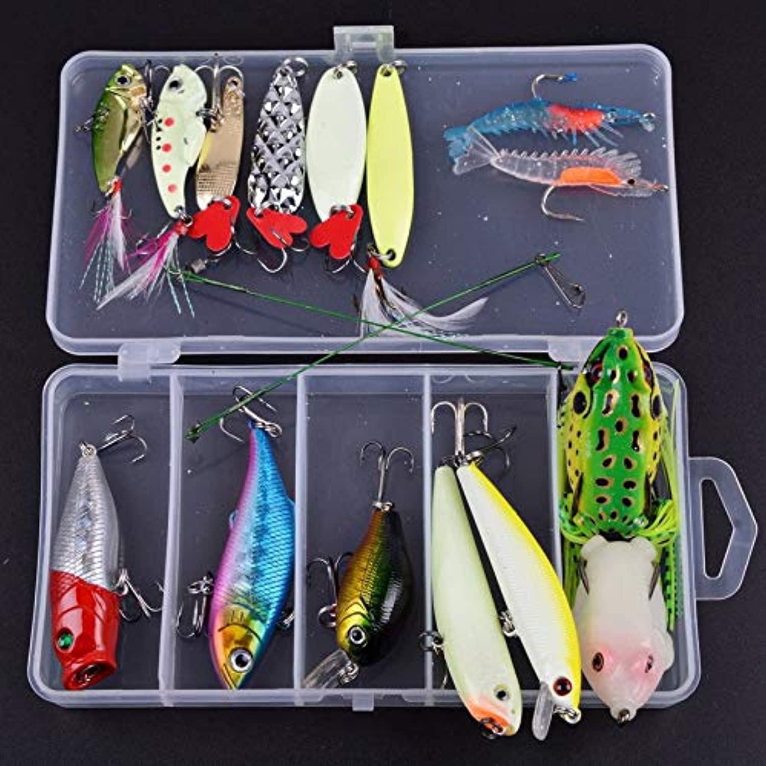 Generic Fishing Lure Kit Hard Soft Lures Frog Metal Lures Sets Soft Bait Fishing Lure Accessory with Box 3D Luminous Bait Night LS0011 17PCS