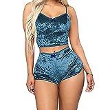 Greetuny 2pcs Conjuntos Pijamas Mujer Sexy Terciopelo Chaleco Tirantes y Pantalones de Pijama Mujer Cortos Ropa Interior Casual Ropa de Dormir Azul M