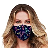 Washable Face Mask with Adjustable Ear Loops & Nose Wire - 3 Layers, 100% Cotton Inner Layer - Cloth Reusable Face Protection with Filter Pocket - Made in USA - (Neon Butterfly