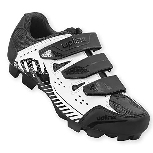 Hiland Indoor Cycling Shoes 2 Bolt Spin Mountain Bike Shoe for Women Men Spinning MTB Lock Pedal Bicycle Cleated Compatible with Shimano SPD Cleats Black White 45