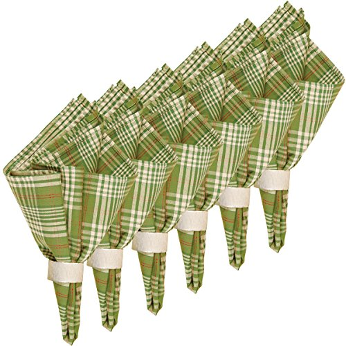 C&F Home Holly Plaid Cotton Reversible Cotton Machine Washable Napkin 18x18 Set of 6 Napkin Set of 6 Green