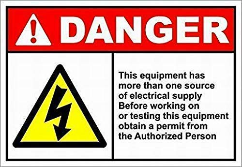 DKISEE Billiards Villa Wall Decoration Artwork Warning Signs, Equipment Has More Than One Electrical Supply Wall Decor Sign, Tin Plate Vintage Metal Sign 10x14 inch