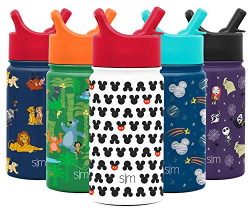 Simple Modern 14oz Disney Summit Kids Water Bottle Thermos with Straw Lid - Dishwasher Safe Vacuum Insulated Double Wall Tumbler Travel Cup 18/8 Stainless Steel - Disney: Mickey Ears