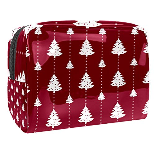 Travel Makeup Bag Portable Cosmetic Case Waterproof Toiletry Bag Large Storage Organizer Pouch for Women and Girls - Christmas Tree Red White