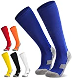 Fußballsocken Stutzen Kinder Jugendliche Socken Fußball Strümpfe - Sportsocken Trainingssocke Sockenstutzen - für Fußball, Laufen, Training (Blau S)