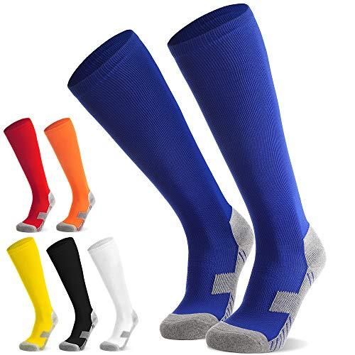 Kinder Fussballsocken Fussballstutzen Fussballstrümpfe Jungen Mädchen - Sportsocken Trainingssocke Sockenstutzen - für Fußball, Laufen, Training 2 Paar (Blau M)