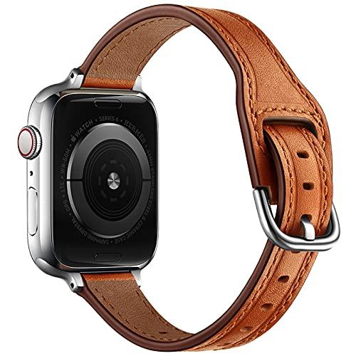 AISPORTS Compatible con Apple Watch Correa de piel de 40 mm y 38 mm para mujeres y niñas, correa de repuesto para Apple Watch SE/iWatch Series 6/5/4/3/2/1