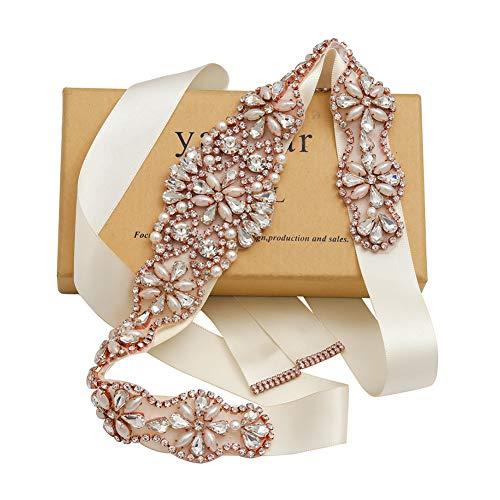 Wedding Belt for Bride Dress,Bridal Belt with Rose Gold Rhinestone Wedding Dress Belt for Women