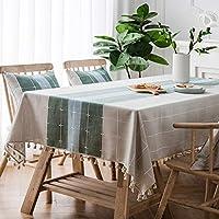 長方形のテーブルクロス,コットンリネン生地フリンジ耐水性装飾生地テーブルカバー退色防止防塵プロテクターテーブルトップキッチンピクニック屋外屋内に最適-X 110*170cm