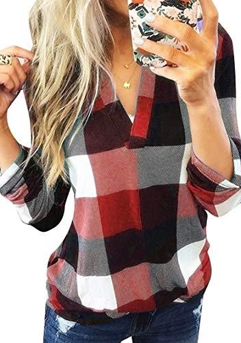 TYQQU Damen Bluse Kariert Langarm Casual Sweatshirt Oberteil T-Shirt Tops Rot XXS