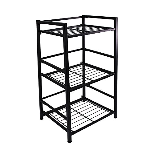 Flipshelf-Folding Metal Bookcase-Small Space Solution-No Assembly-Home, Kitchen, Bathroom And Office Shelving-Black, 3 Shelves, Narrow