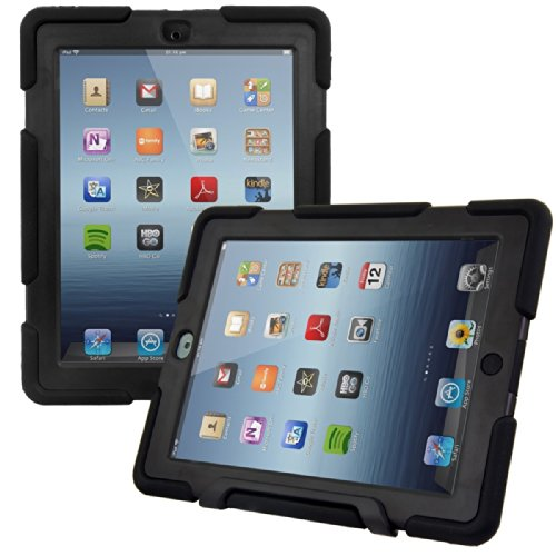 kwmobile Custodia Hybrid Protettiva Compatibile con Apple iPad 2 3   4 - Doppia Custodia per Tablet in Gomma e plastica - Nero