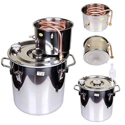 JIXIN Moonshine Still Spirits Kit Agua Alcohol Distiller Home Brew Kit para Hacer Vino Caldera De Aceite Tubo De Cobre Acero Inoxidable,2.2 gallons