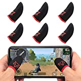 Mobile Game Controller Finger Sleeve Sets [6 PCs],Anti-Sweat Breathable Touchscreen Finger Sleeve for Mobile Phone Games for PUBG/Mobile Legends/Knives Out(Black Red)