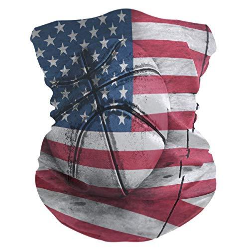 BIGJOKE Gesichtsmaske für Sport mit Amerika-Flagge, Basketball, winddicht, UV-Schutz, Kopftuch, waschbar, Halstuch für Damen und Herren, Outdoor-Aktivitäten, Staub, Yoga
