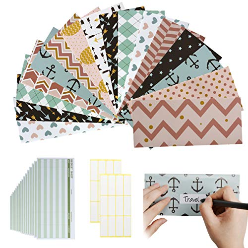 16 Budget Envelopes, Waterproof Cash Envelope System for Money Savings, Cash Budget Envelopes with 16 Budget Sheets and 24 Tag Stickers
