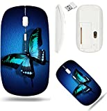 Liili Wireless Mouse White Base Travel 2.4G Wireless Mice with USB Receiver, Click with 1000 DPI for notebook, pc, laptop, computer, mac book IMAGE ID: 16586559 Turquoise butterfly on dark blue backgr