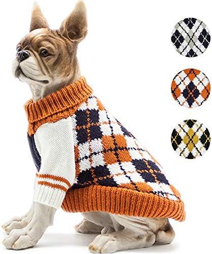 BOBIBI Dog Sweater of The Diamond Plaid Pet Cat Winter Knitwear Warm Clothes Orange Small product image