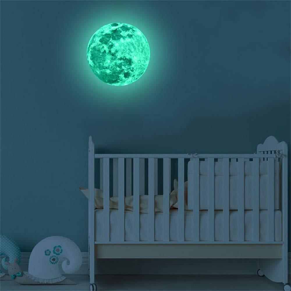 YWLINK Etiqueta Engomada De La Pared Fluorescente De La Luna Grande 3D Resplandor Desprendible En La Etiqueta Engomada Oscura(A:5cm,B:12cm,C:20cm): Amazon.es: Hogar