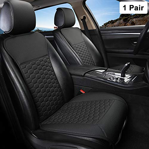 Black Panther 1 Pair Luxury PU Leather Front Car Seat Covers Breathable and Non-Slip Auto Seat Protectors for 95% Car Seats (Black)