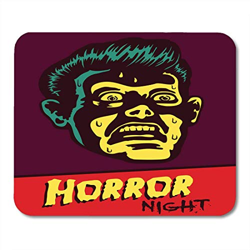AOHOT Mauspads Horror Night Halloween Party Movie Event Terrified Vintage Man Face Afraid of Something Creepy Distracted Mouse Pad Mats 9.5