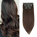 Sixstarhair Clip In Extensions Remy Human Hair Walnut Brown Hair Extensions Medium Brown Real Thick Hair 120g Pack with Seamless Clip In Hair Extensions 16inch 8 Pieces Pack
