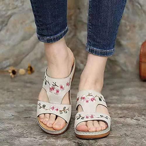 xinghui Chanclas Slippers de Caracteres Pendiente con Sandalias de Fondo Gruesas con Flores Bordadas Sandalias de Mujer-Blanco Crema_40