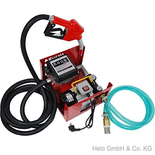 Helo \'DP60L\' Dieselpumpe Heizölpumpe 230V selbstansaugend, Tankstellen Set mit ca. 60l/min. Förderleistung, Treibstoffpumpe inkl. doppeltem Zählwerk und automatischer Zapfpistole mit 4 m Leitung