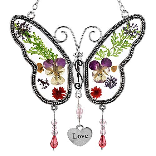 Love Butterfly Sun Catcher Stained Glass Love Suncatchers with Pressed Flower Wings Embedded in Glass with Metal Trim Love Heart Charm - Gifts for Mom Wife Friend for Birthdays Christmas
