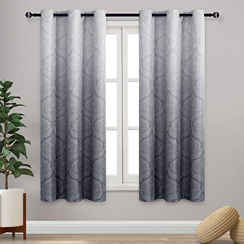 DWCN Ombre Blackout Curtains for Bedroom - Damask Patterned Thermal Insulated Energy Saving Grommet Curtains for Living Room, Set of 2 Gradient Window Curtain Panels, 42 x 63 Inch Length, Grey