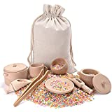 MONT PLEASANT Sensory Bin Toys for Toddlers Montessori Toys, Waldorf Toys, Pretend Play Dish and Tongs- Fine Motor Learning Toys for Sensory Table Activities