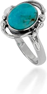 Size 7 Chuvora 925 Oxidized Sterling Silver Turquoise Oval Three Line Minimalist Statement Ring