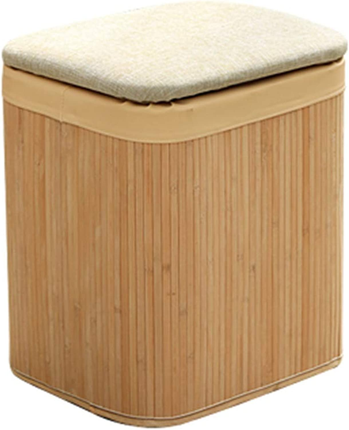 LSXIAO Sofa Stool Rectangle Solid Wood Frame Structure Storage Bamboo Craft Durable Doorway Change shoes, 2 colors (color   Beige, Size   30x26x38cm)