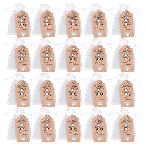 Guanici Colgante de ángel de la guarda y bolsa de organza y etiquetas de regalo de papel Kraft para cumpleaños navidad bautismo comunión regalo invitado presente hecho a mano 20 Piezas