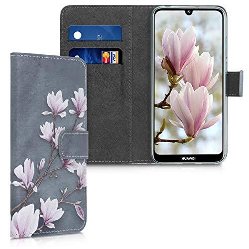 kwmobile Wallet Case kompatibel mit Huawei Y6 (2019) - Hülle mit Ständer Kartenfächer Magnolien Taupe Weiß Blaugrau