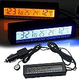 車内温度計、温度計、入/出力温度計、電圧計、電圧モニター、LCDディスプレイ、シガレットライターおよび自動車充電器付きデジタル時計