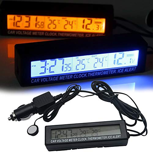 Multifunzionale 3 in 1 orologio digitale dell automobile, termometro di ingresso uscita, misuratore di tensione