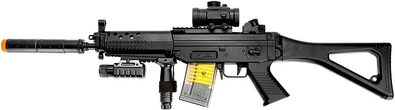 double eagle m82p commando electric airsoft gun full auto fps-250, w/ flashlight, foregrip, red dot scope, silencer(Airsoft Gun)
