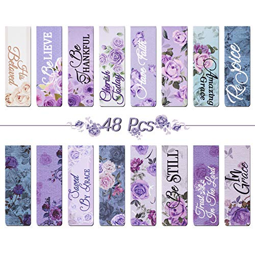 48 Pieces Magnetic Bookmarks Purple Floral Roses Magnet Page Clips Inspirational Magnetic Page Markers for Student Office Reading Stationery Supplies, 16 Styles