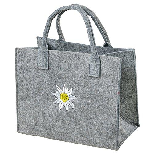 LA FIORE 24 As Design By lafiore24alta qualità Feltro borsa Organizer Borsa a mano Borsa Shopper Festival Bag contenitore con applicazione in bianco inox, grigio chiaro