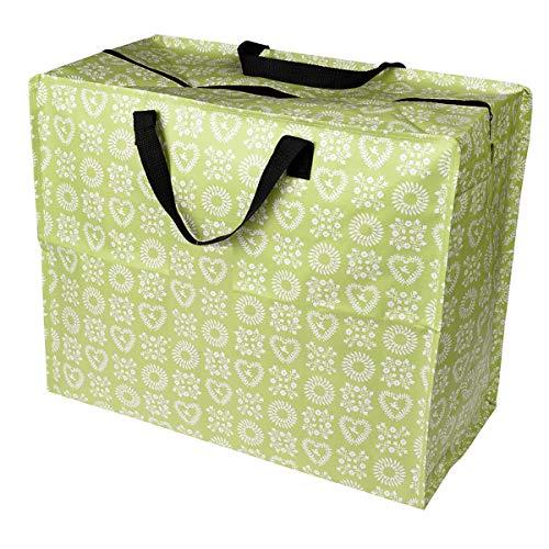 LS-LebenStil XXL Jumbo Bag Herzen Grün Einkaufstasche Shopper Riesentasche Tasche Allzwecktasche Recycelt