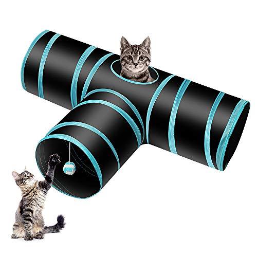 Donghoodshop Juguetes Gatos Tunel Gato Pet Tunnel 3 Way Crinkle Tubo Plegable...