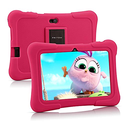 Pritom 7 inch Kids Tablet | Quad Core Android 10.0, 16GB ROM | WiFi,Bluetooth,Dual Camera | Educational,Games,Parental Control,Kids Software Pre-Installed with Kids-Tablet Case (Pink)