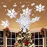 Ywlake Christmas Tree Topper Lights, LED Light Up Lighted Snowflake Christmas Top Topper Projecter with Projection for Indoor Outdoor Christma Tree Decor Decorations (Plastic, Silver)