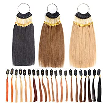 RemeeHi Rings 100% Human Hair Swatches Testing Color with Gold Buckles Straight Samples Hair for Salon Hairdressing 30 strands/set Dark Golden 6°