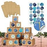 24 cajas para rellenar el calendario de Adviento, 24 cajas para manualidades, color azul, marrón natural, cajas de cartón de 400 g/m² para colocar y decorar, 24 cajas reutilizables para Navidad