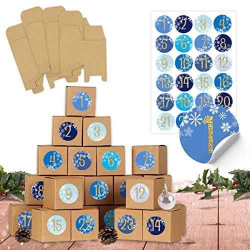 24 scatole per calendario dell'Avvento da riempire – 24 scatole per il fai da te – blu – scatole marrone naturale in cartone da 400 g/m² da appoggiare e decorare, 24 scatole riutilizzabili, Natale