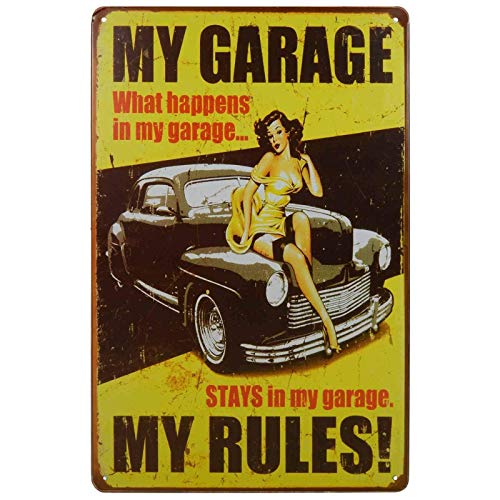 ZMKDLL Letrero de metal retro de 30,48 x 20,32 cm My Garage My Rules Homewares Bar Decor Kitsch Pub