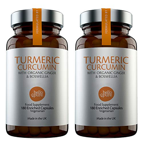 Vegan Turmeric Curcumin Capsules – Ultra High Strength 5000mg Turmeric Extract Equivalent (3-Month Supply) Plus Ginger & Boswellia – Advanced Turmeric Tablets Formulation – Made in The UK (Pack of 2)