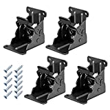 Folding Brackets 4 Pcs 0-90 Degree Lock Extension Support for Table Bed Leg Bronze Steel Foldable Hinge Hardware with Screws (0-90 Degrees, Bronze)